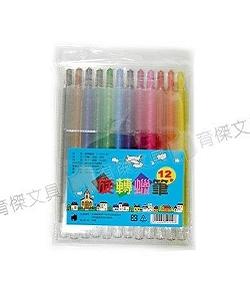 YJ-4236(長) 彩色旋轉蠟筆12色 (PVC袋)