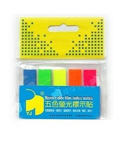 YJ 五色螢光標示貼(平頭) 塑膠材質